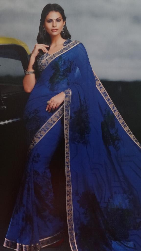 Beautiful Printed Blue Saree