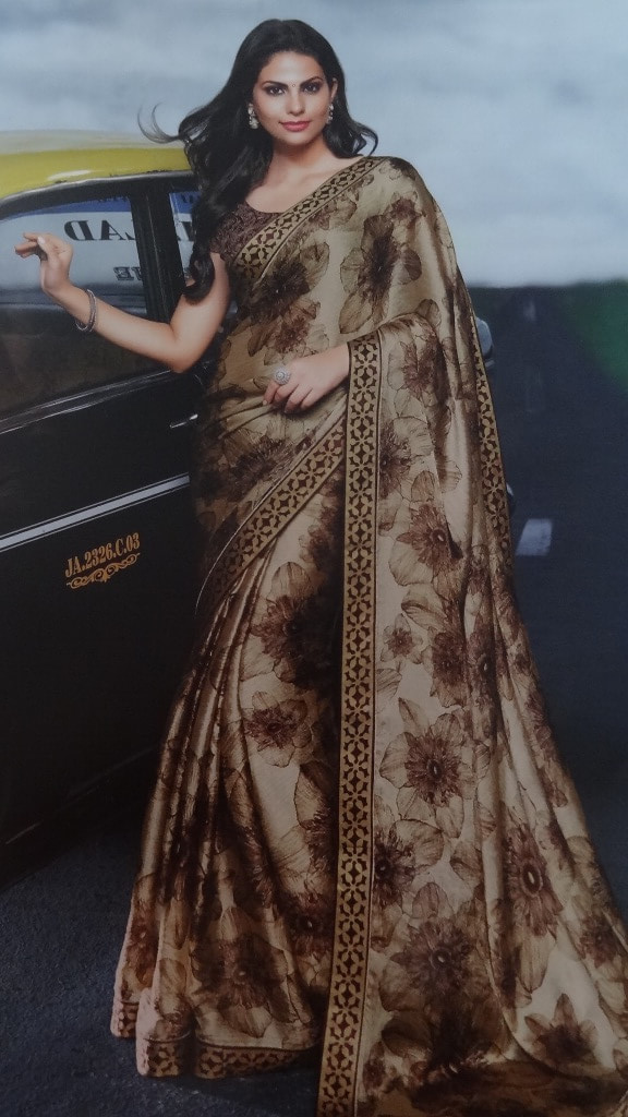 Brown Printed Saree