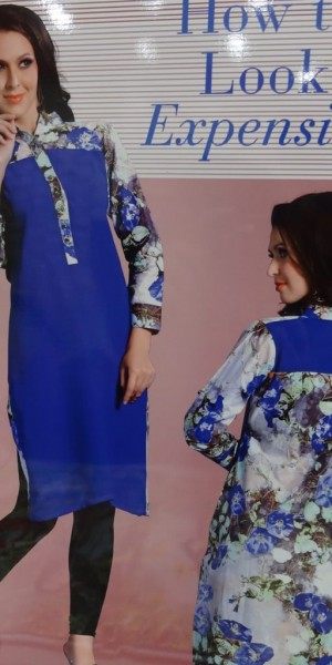 Lovely Kurtie of Blue Color Back & Front Printed