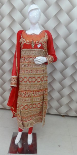 Pink & Beige double Color Heavy Zari, zarkan Work Suit