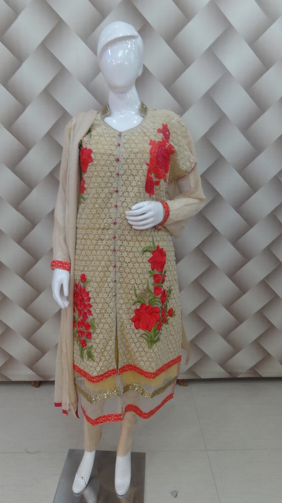 Beige & Red Color Suit of beautiful thread Work 1