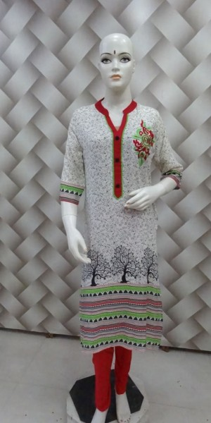 White Cotton Kurtie with Red Ban Collor