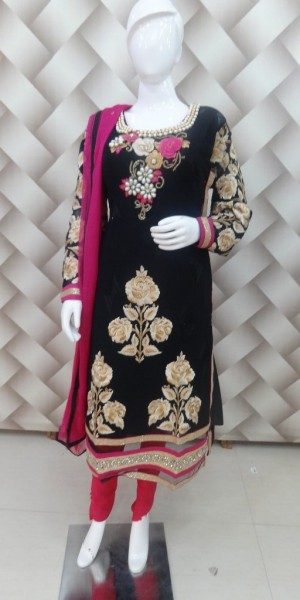Black & Rani Color goergette Suit