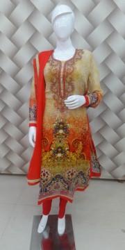 Yellow & Red Color Designer Digital Print Goergette Suit