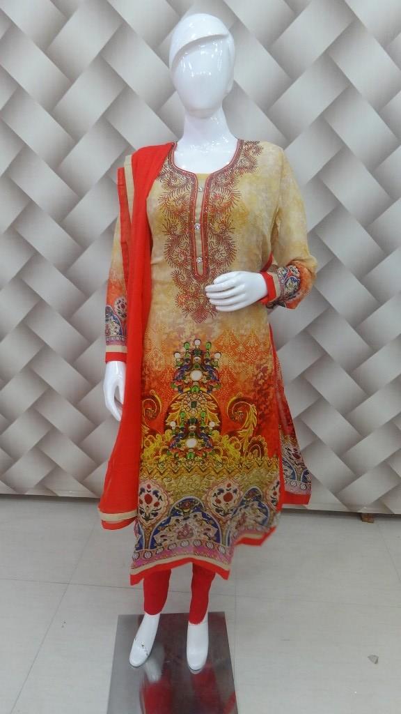 Yellow & Red Color Designer Digital Print Goergette Suit 1