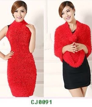 Red Color Fancy Woolen Stole