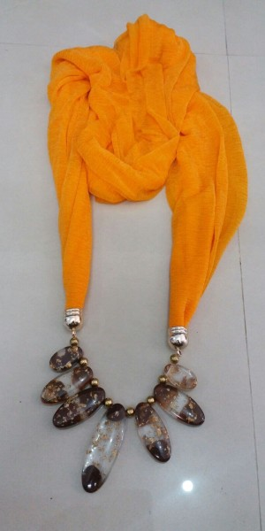 Orange Colour Jewelry Necklace Scarf