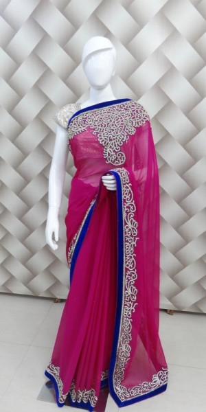 Cut work chiffon Saree