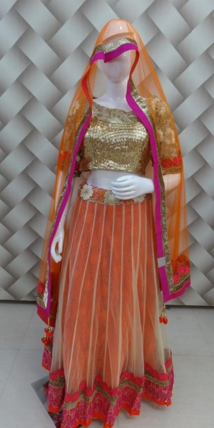 Designer net orange Lehenga