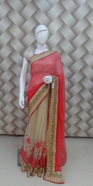 Viweing Pink & Cream Saree