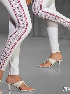 White Colorside Printed Legging Cotton 4 Way Lycra