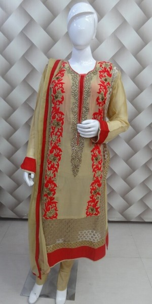 Exclusive Beige & Red Suit
