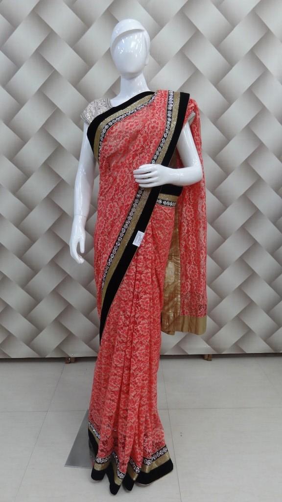 Beautiful self net orange Saree  1