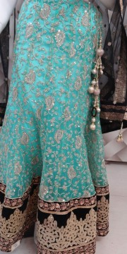 Designer sea green and black Lehenga