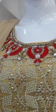 Cream & Red Suit Front Heavy Zari, Kundan, Pearl & Zarkan Work