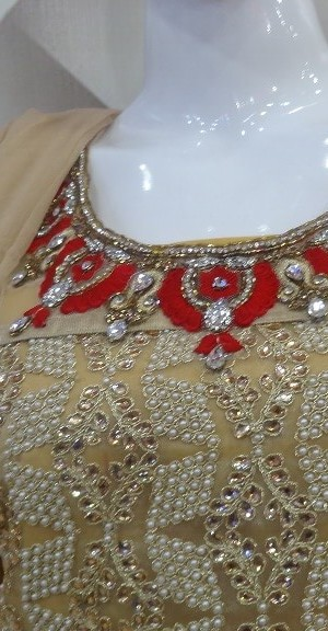 Cream & Red Suit Front Heavy Zari, Kundan, Pearl & Zarkan Work