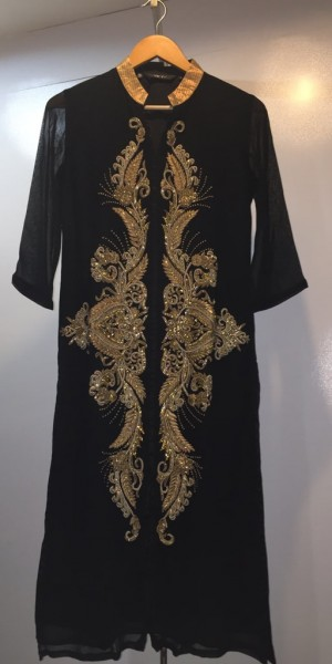 Black Color Goergette Kurtie With Zari & Zarkan Work