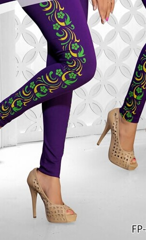 Blue Color Side Printed Legging Cotton 4 Way Lycra