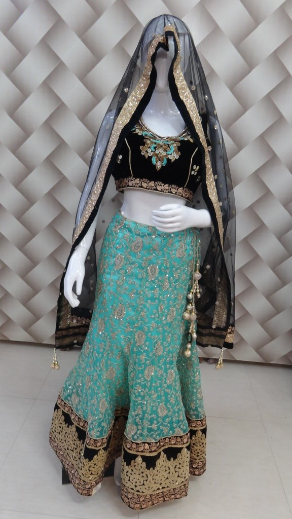 Designer sea green and black Lehenga 1