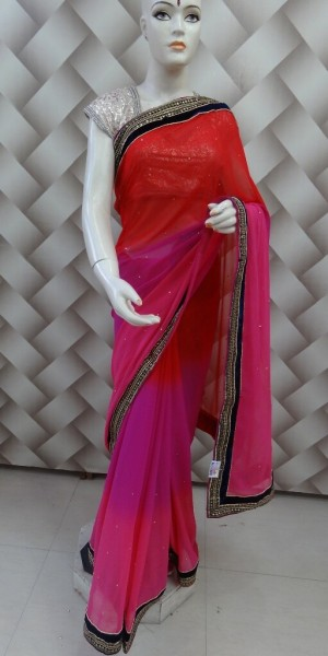 Designer Triple Shade Saree