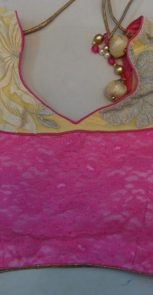 Faux Goergette Pink Designer Saree