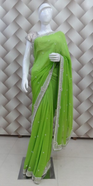 Faux Goergette Pearl Work Saree