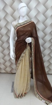 Goergeous Brown Golden Saree