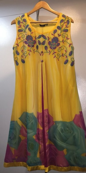 Designer Yellow Print & Thread  Work Kurtie
