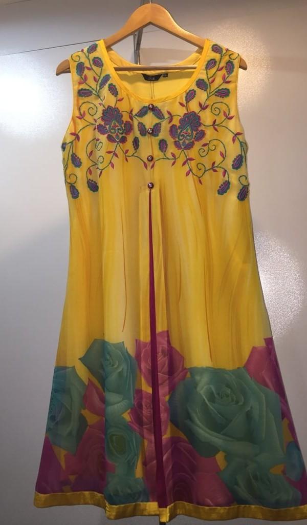 Designer Yellow Print & Thread  Work Kurtie  1