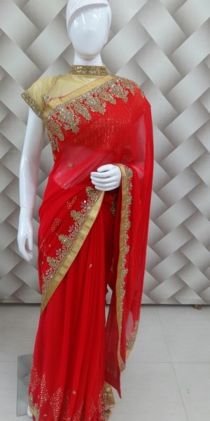 Karwachoth special red Saree