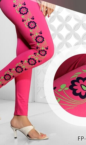 Pink Color Side Printed Legging Cotton 4Way Lycra