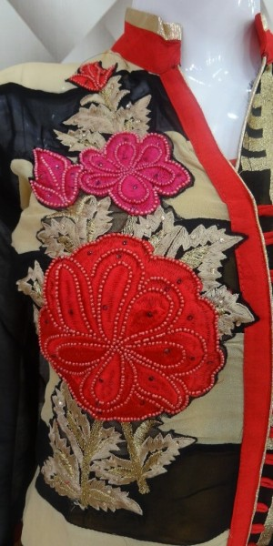 Black, Beige & Red Color designer thread Work Suit