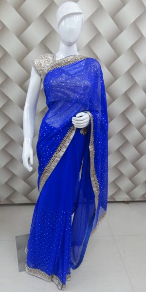 Cut Work Faux Goergette Saree