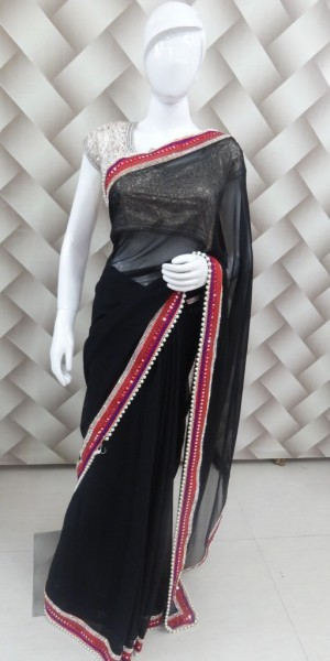 Mirror Work black Saree