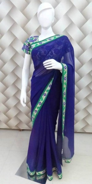 Floral Embroided Blue Saree
