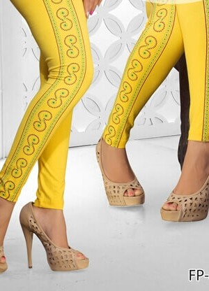 Yellow Color Side Printed Legging Cotton 4Way Lycra