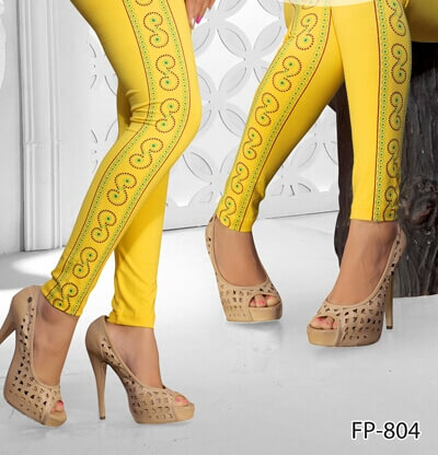 Yellow Color Side Printed Legging Cotton 4Way Lycra 1