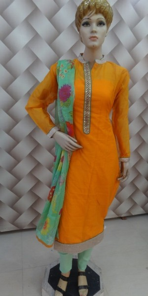 Decent Orange & Sea Green Chanderi Suit