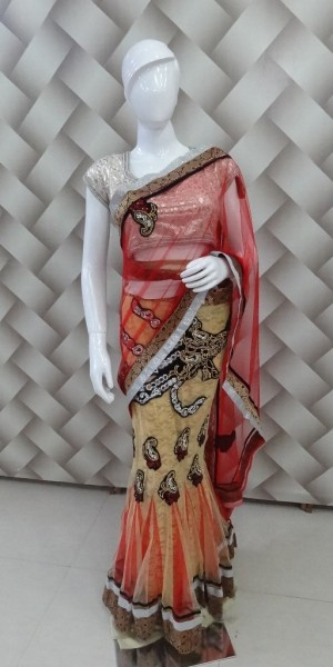 Designer Cream & Red Saree