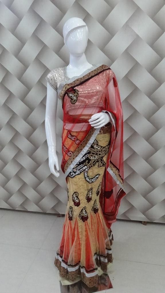 Designer Cream & Red Saree  1