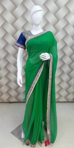 Epic Embroided Green Saree