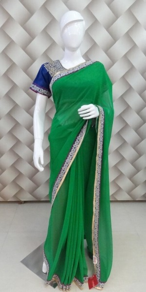 Beautiful Zari Blue Saree