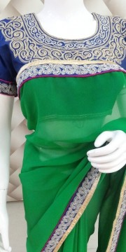 Beautiful Zari Blue Saree