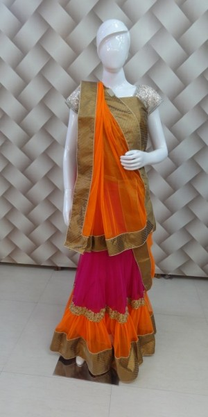 Designer Lehenga orange and yellow