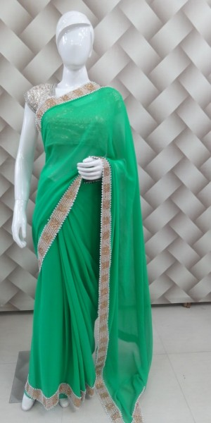 Light Green Faux Goergette Saree