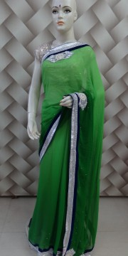 Printed Border Saree in Paris Green