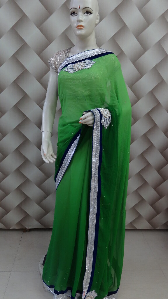 Printed Border Saree in Paris Green 1