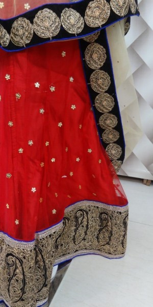 Faux net red Lehenga