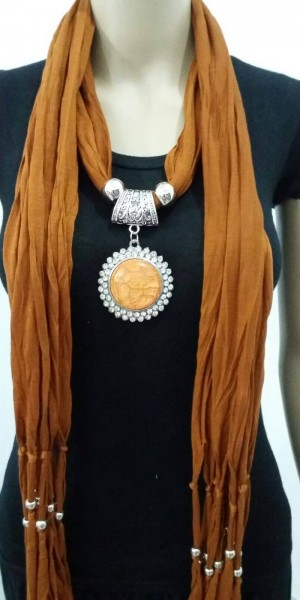 Gorgeous Jewelry Necklace Scarf Orange