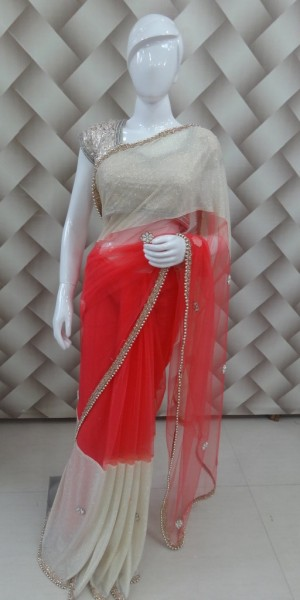 Awesome Peach & Golden Saree